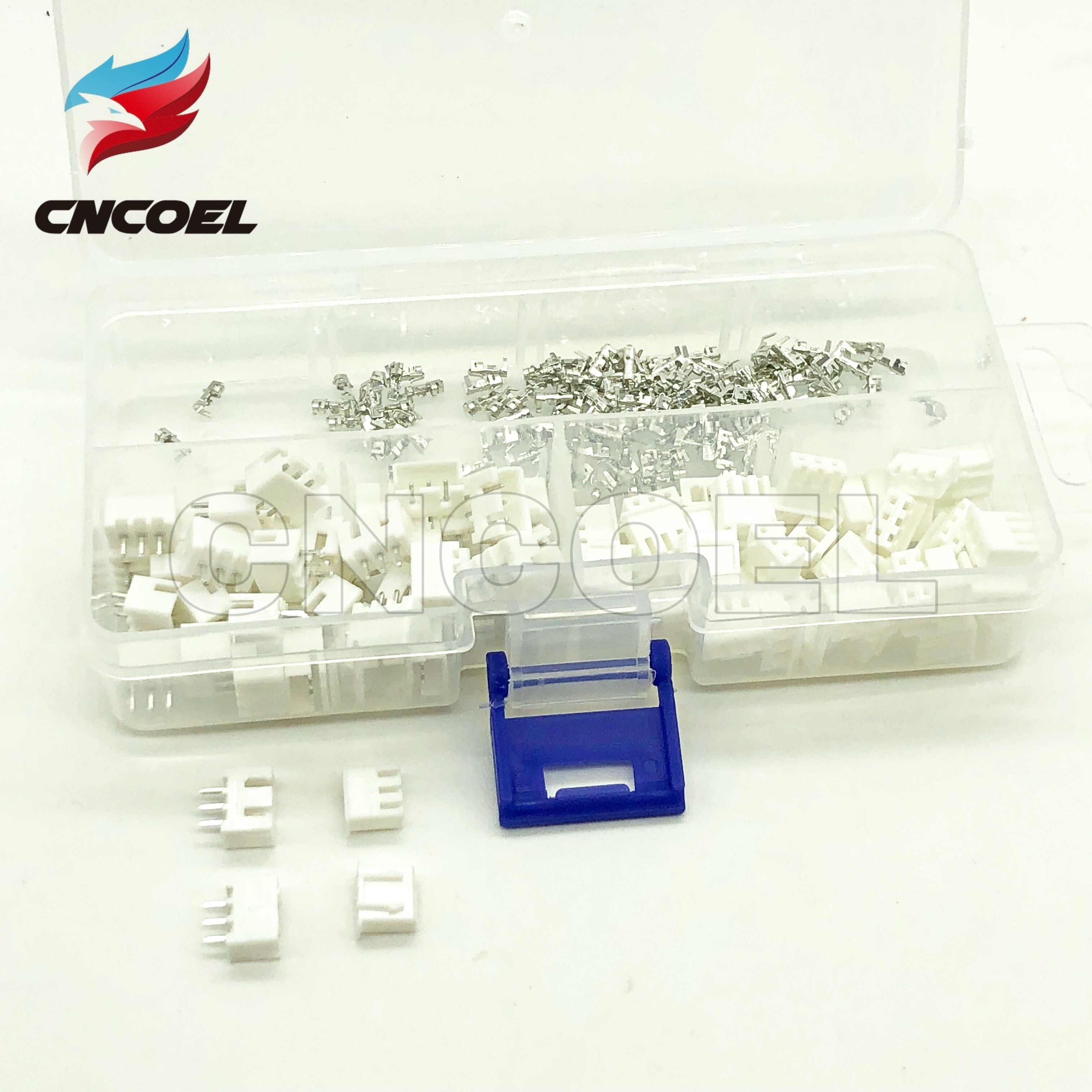 250pcs 2.54mm XH2.54 2pin 3pin 4pin Connector Plug Straight Terminals Tools