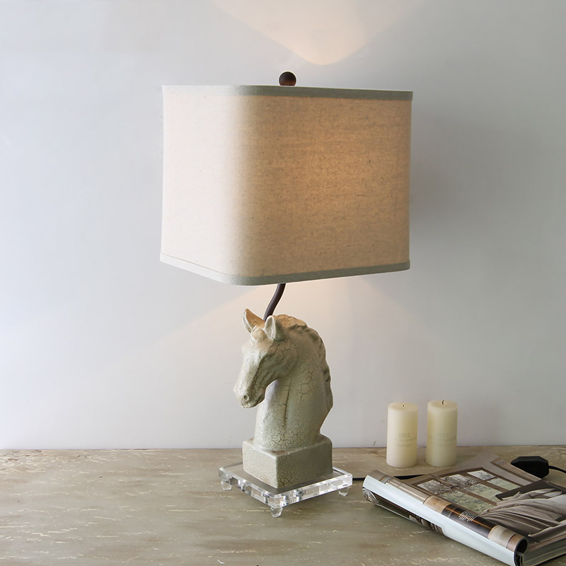 Cracked Texture Horse Resin Statue Modern Creative Led Table Lights Acrylic Base Table Lamps Living Room Bedside Desk Lamp Decor|LED Table Lamps| |  - title=