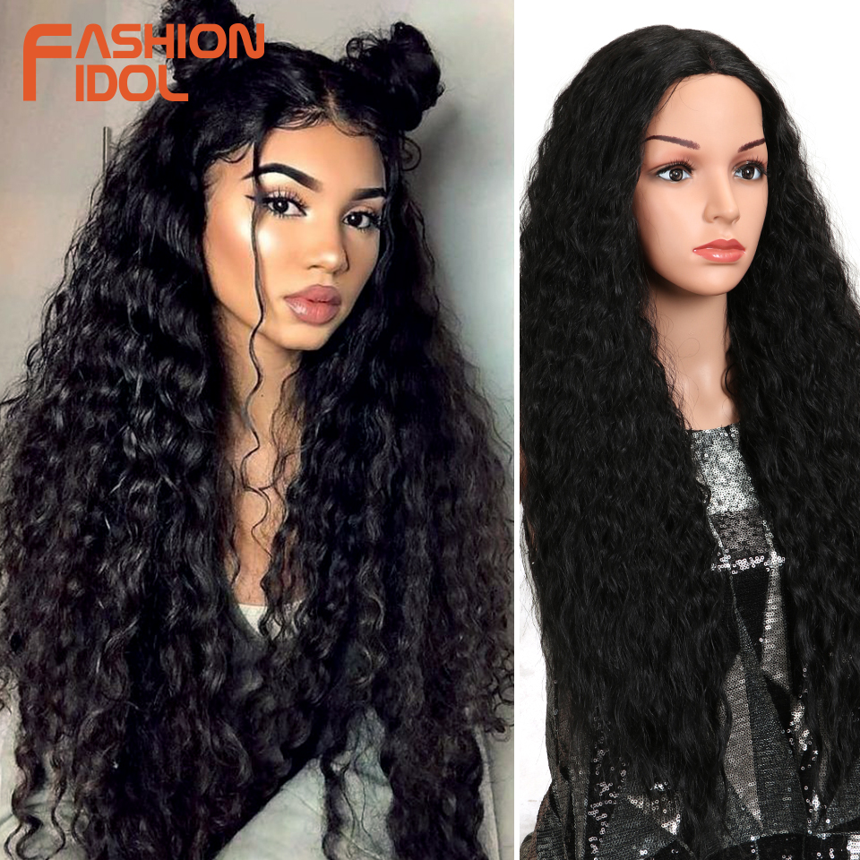 "FASHION IDOL Kinky Curly Ombre Brown Natural Hairline Glueless Heat Resistant 30"" Long Synthetic Lace Front Wigs For Black Women"