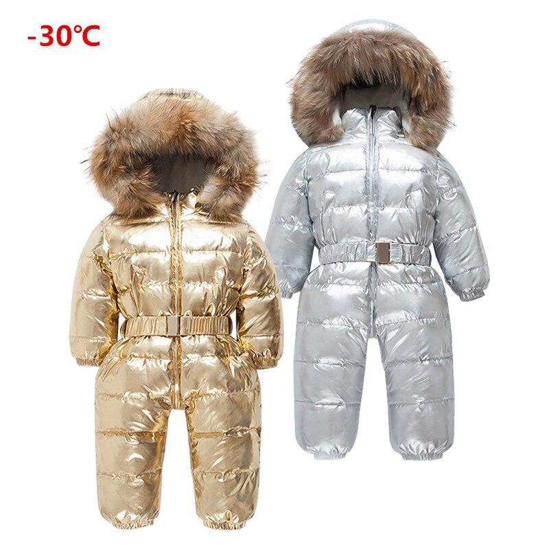 2019 Brand Orangemom Russia Winter 30 Degree Down Jacke Children Large Raccoon Fur Clothes Boys Girls