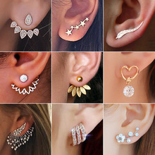 Stud-Earrings Angel-Wings Flowers Wedding-Jewelry Leaf Pearls Women New-Fashion Pendient