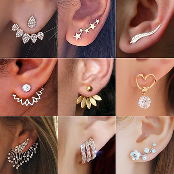 2020 New Fashion Simulated Pearls Pendient  Angel Wings Leaf Feather Flowers Stud Earrings For Women Wedding Jewelry