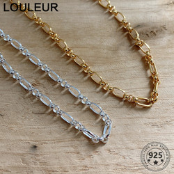 Louleur 925 Sterling Silver Necklace Golden Link Chain Choker Necklace For Women Silver 925 Fine Jewelry Charms Gift Daily