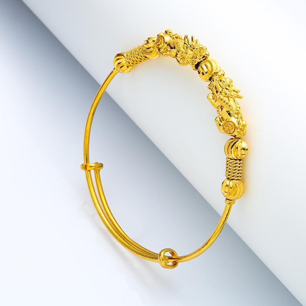 Pixiu push-pull bracelet Feng Shui Bracelet Men Women Unisex Wristband Gold Pixiu Wealth and Good Luck Women Bracelet