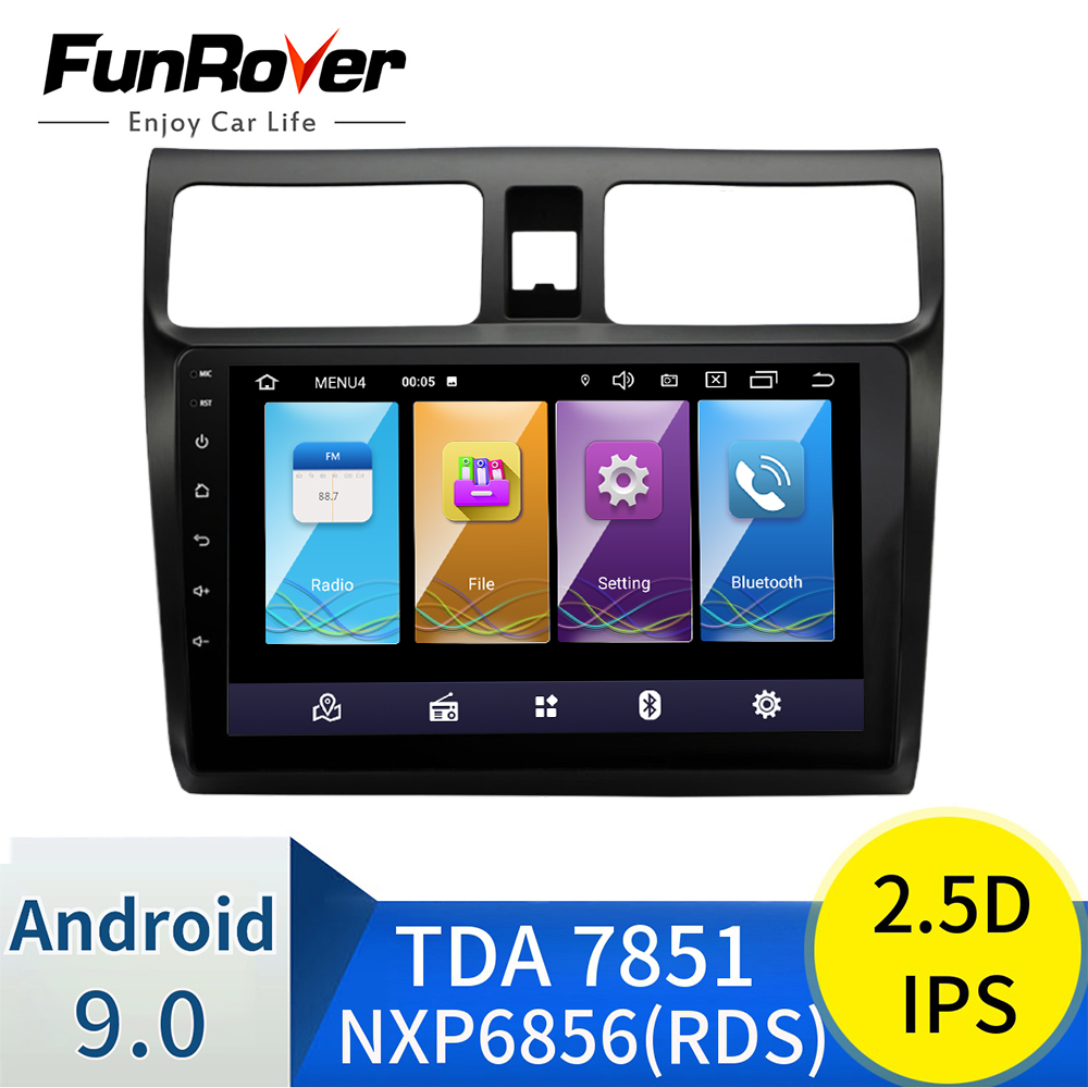 FUNROVER Ips 2.5d Din Android 9.0 Car Dvd Gps Multimedia 10.1
