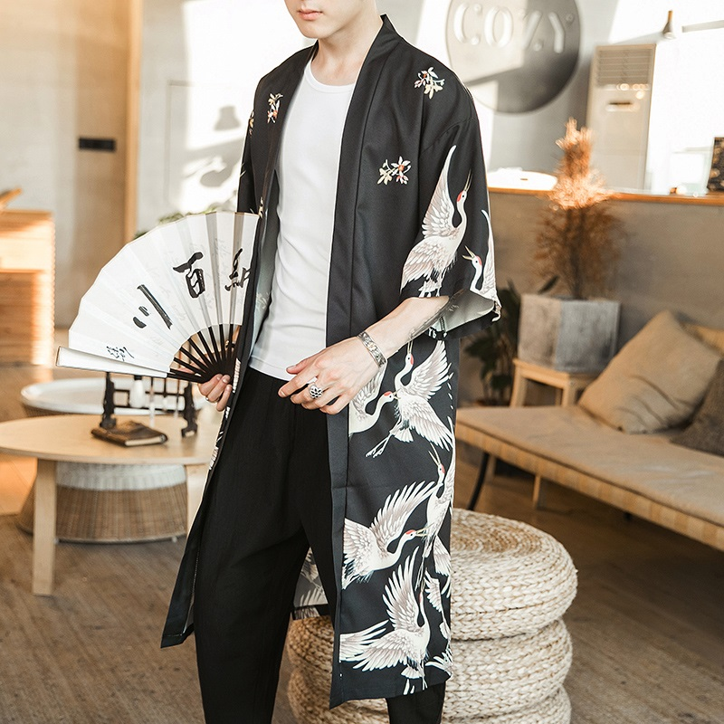 Hawaiian Shirt Men Clothes 2019 Japanese Streetwear Extra Long Chinese Male Shirt Cool Blouse Male Kimono Cardigan AZ2003