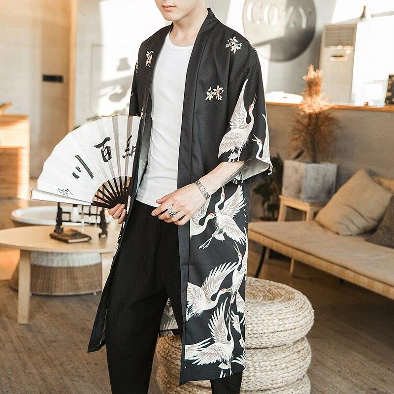 Hawaiian Shirt Men Clothes 2020 Japanese Streetwear Extra Long Chinese Male Shirt Cool Blouse Male Kimono Cardigan AZ2003(China)