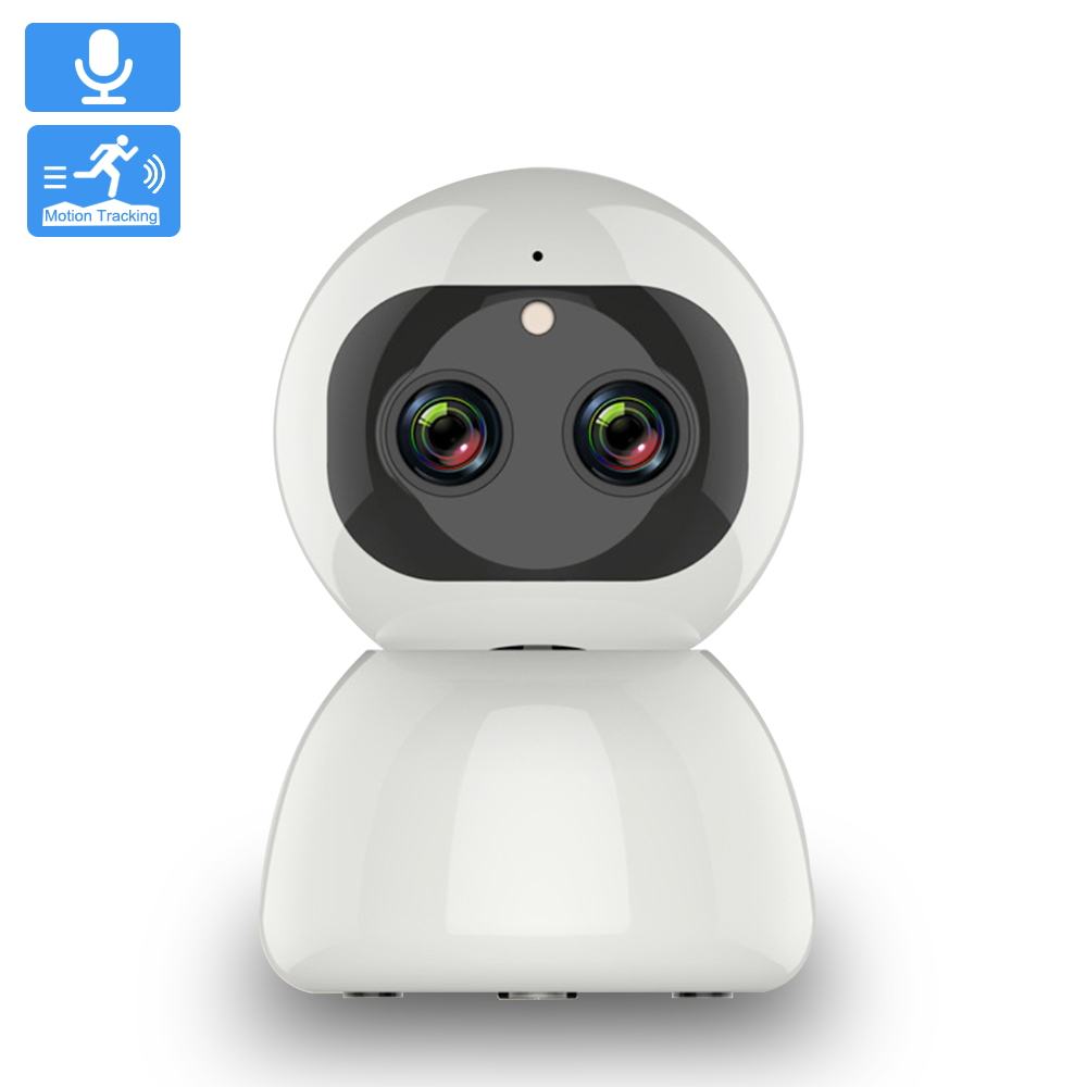 IP Camera Wifi Dual-Lens 2MP Super Wide Angle Home Security Camera Auto Tracking Zoom Night Vision Wireless CCTV Network Camera