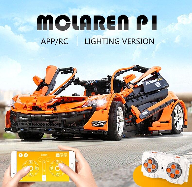 1 to 8 ratio 13090 Technic Series McLaren P1 Orange Racing Car Set APP RC Model Building Blocks Power Motor Function Toys 20087 27