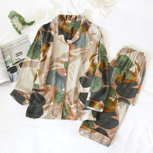 Image 3 - 2 Suits Sleepwear Autumn Classical Magpie Printing Satin Pajamas Long Sleeve Loungewear Women Turn down Collar Thin Home Clothes