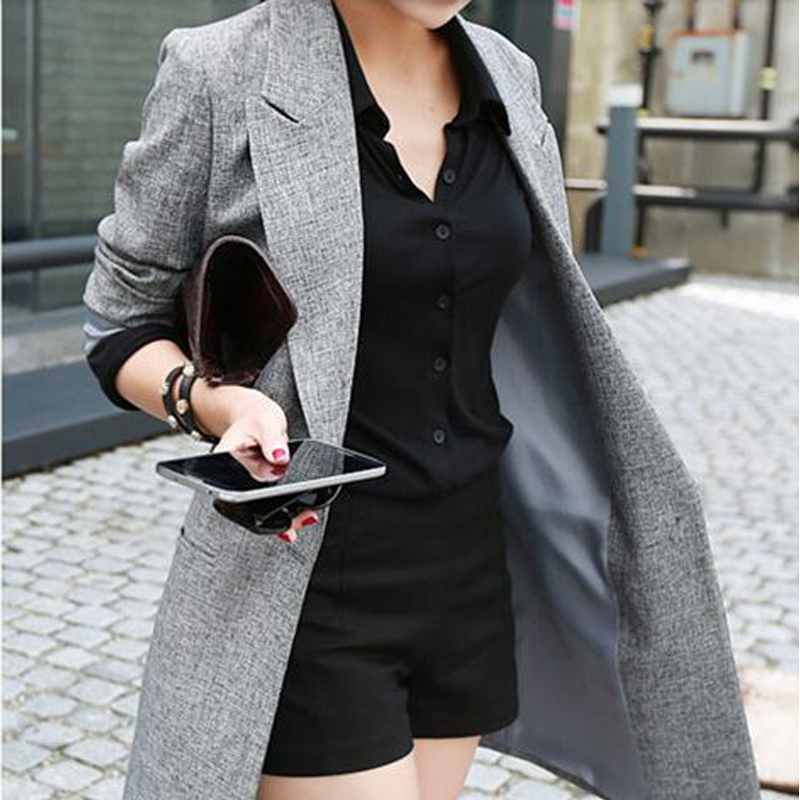 2020 Hot Selling Spring Women Casual Long Thin Blazers Coats Notched Collar Full Sleeve Single Button Fashion Cardigans Y99