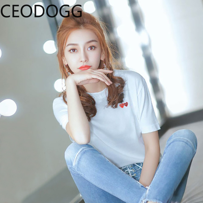 Korean Loose Crazy Style Lovers Pattern Cotton T Shirt Women O Neck Pullover Short Sleeve Tees Casual Wild Cotton Top Mujer 2020