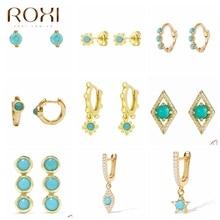 ROXI Bohemia Turquoise Stone Stud Earrings for Women Girls Flower Star Piercing Earrings 925 Sterling Silver Jewelry Pendientes