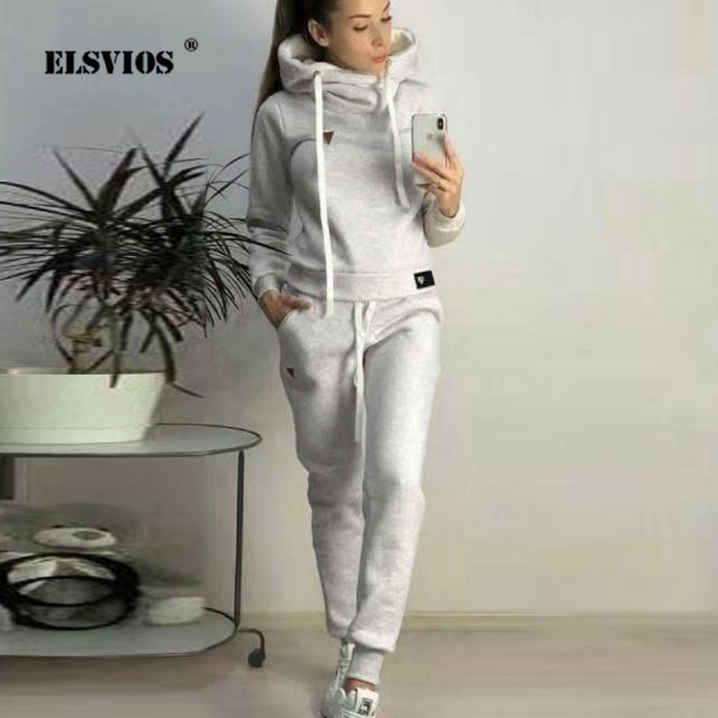 ELSVIOS 5XL Autumn 2Pcs Women Tracksuit Hoodie Sweatshirt And Elastic Waist Pant Sets Winter Warm Pullover Sportswear Top Pocket