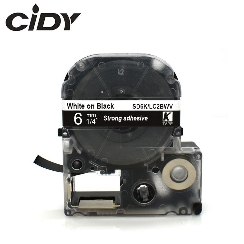 CIDY White On Black SD6K SD6KW/LC2BWV Strong Adhesive Ribbon Cassette Tape For Kingjim/epson Label Maker LW300 LW400 LW-600P