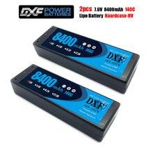 DXF 2 قطعة يبو 2S بطارية 7.6V 8400 140C 8000mah 140C/7.4V 8400mah 120C 7300mah 130C/ 4200mah 20C 4 مللي متر Hardcase ل القطع 4X4 سيارة