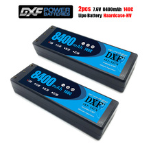 DXF 2 adet Lipo 2S pil 7.6V 8400 140C 8000mah 140C/7.4V 8400mah 120C 7300mah 130C/ 4200mah 20C 4mm hard case Slash 4X4 araba