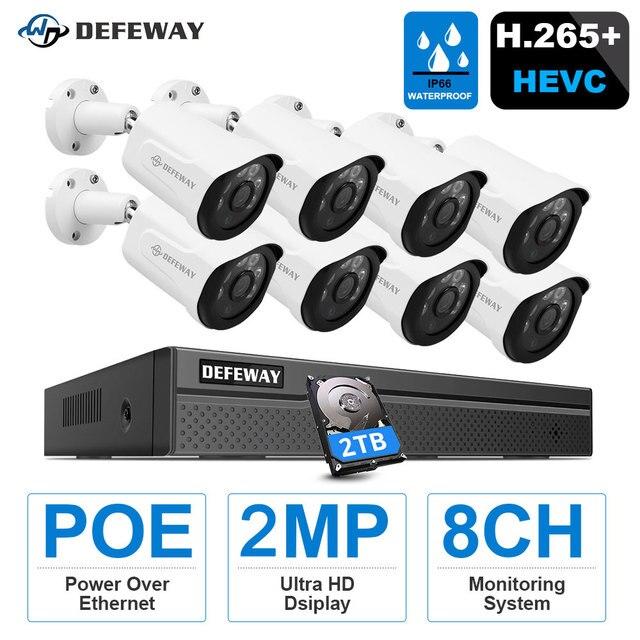DEFEWAY HD 5MP POE طقم NVR 4CH/8CH 2MP POE كاميرا IP مع نظام الدائرة التلفزيونية المغلقة الصوت H.265 + في الهواء الطلق للرؤية الليلية مجموعة مراقبة الفيديو