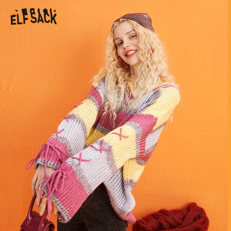 ELFSACK Multicolor Striped Colorblock Casual Knit Pullover Sweater Women 2019 Winter Criss Cross Lace Up Long Sleeve Ladies Tops