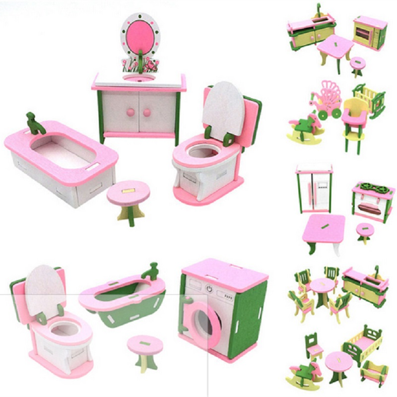 Dollhouse Furniture Double <font><b>Bed</b></font> with Pillows and Blanket Wooden Doll Bathroom Furniture Dollhouse Miniature Kids Child Play Toy image