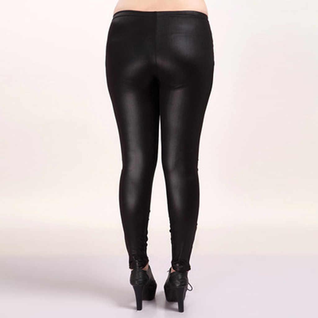 S-3XL 新秋 2019 ファッションフェイクレザーセクシーな薄型黒レギンス Calzas Mujer レギンスレギンスストレッチプラスサイズ 4XL 5XL s20