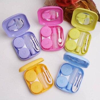 Mini estuche para gafas de contacto portátil de bolsillo, caja de almacenamiento de maquillaje fácil de llevar, contenedor de espejo para pupila, Kit de viaje de estilo lindo, 1 uds.