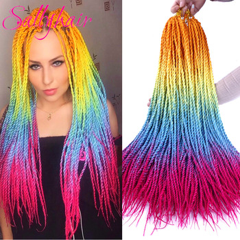 Sallyhair 24inch 20 Strands Ombre Color Senegal Twist Braids Hair Extensions High Temperature Synthetic Crochet Braiding - discount item  48% OFF Synthetic Hair