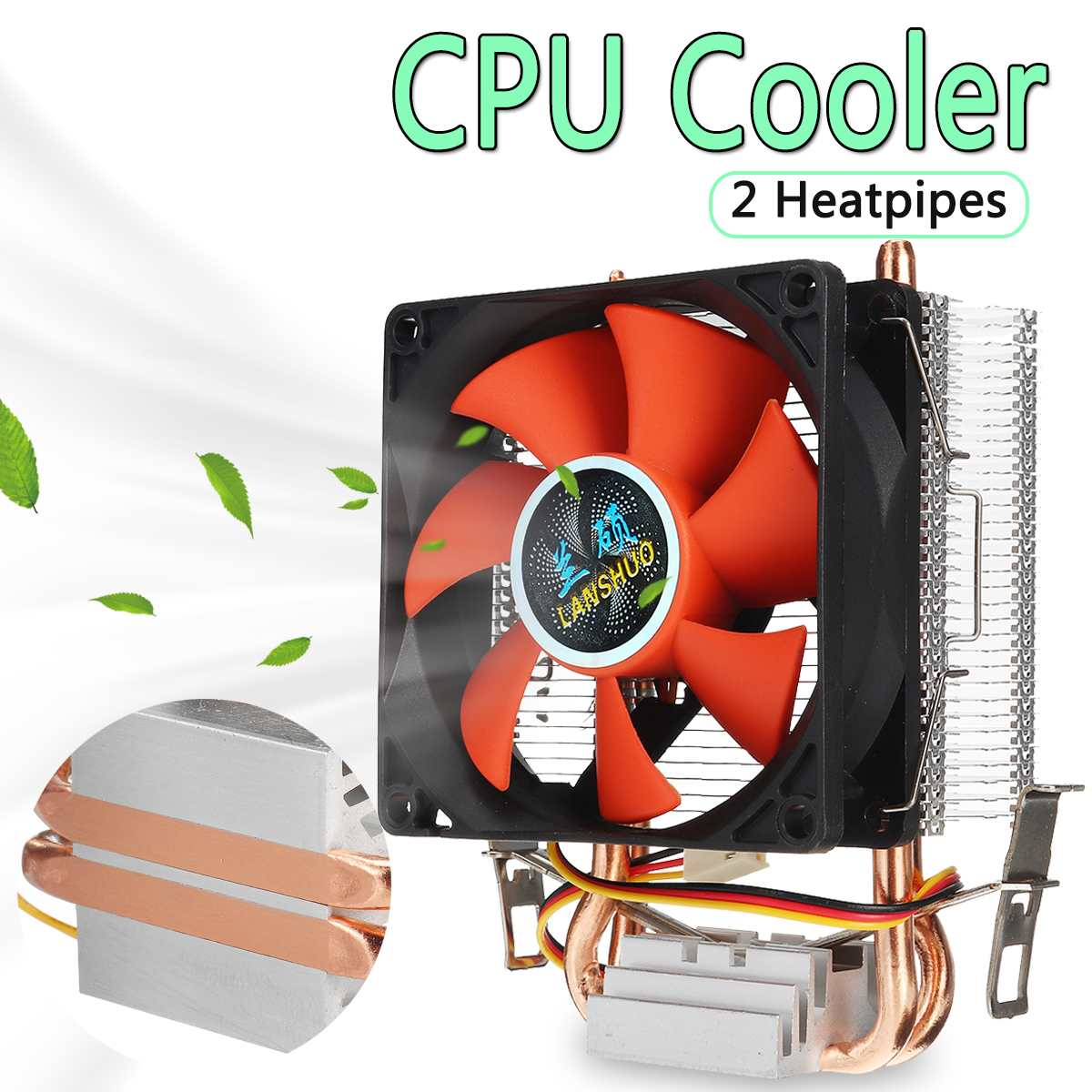 <font><b>80mm</b></font> 2 Copper Heatpipes PC CPU Cooler <font><b>Fan</b></font> Heatsink Computer <font><b>3pin</b></font> Cooling <font><b>Fan</b></font> Cooler Radiator for LGA 775/1155/1156 AMD AM2 AMD3 image