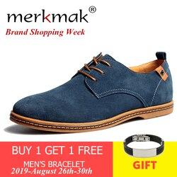 Merkmak Homens Camurça Sapatos de Couro Sólidos Lace-up Tamanho Big 38-48 Sapatos Casuais Apartamentos dos homens Confortável vestido Sapatos Masculinos Calçado Macio