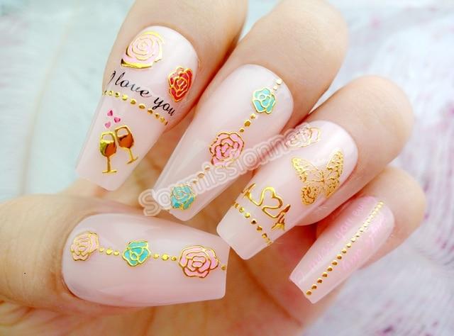 2 шт красочные гелевые наклейки для ногтей бронзовые самоклеящиеся
