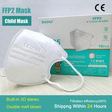 Ffp2kn95 crianças máscara de cinco camadas embutido 3d estéreo estudante duplo meltblown miúdo máscara certificação ce