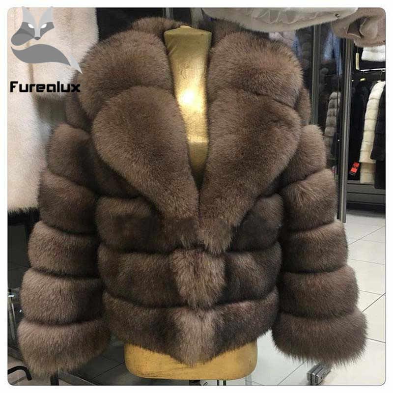 Зимняя шуба из натурального Лисьего меха, толстая теплая имитация саблей, Женский светильник, коричневая короткая куртка, шуба из лисьего меха