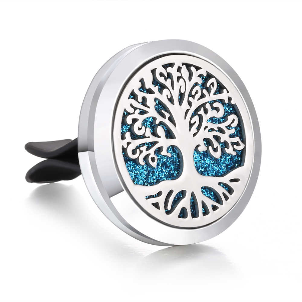 New Car Air Diffuser Locket Tree of Lfie Stainless Steel Vent Freshener Car Essential Oil Diffuser Perfume Aromatherapy Necklace