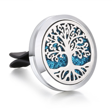 New Car Air Diffuser Locket Tree of Lfie Stainless Steel Vent Freshener Essential Oil Perfume Aromatherapy Necklace