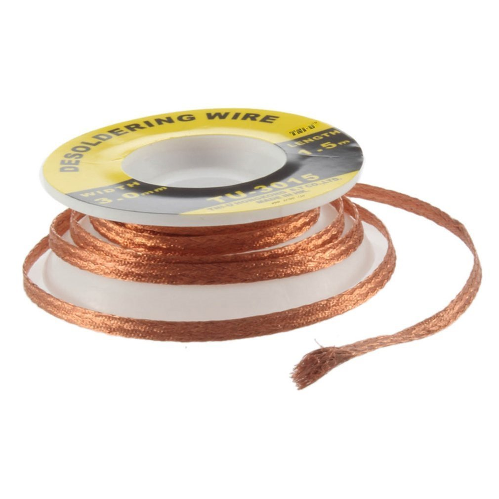 Security 5 Ft. 3 Mm BGA Desoldering Wire Braid Solder Remover Wick Soldering Accessory Metal Color Tin TU-3015