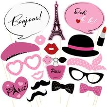 18pcs Paris Party Photo Booth Props Kit Paris Themed Wedding Decoration For Mariage Favors Funny Selfie Photobooth Props Decor