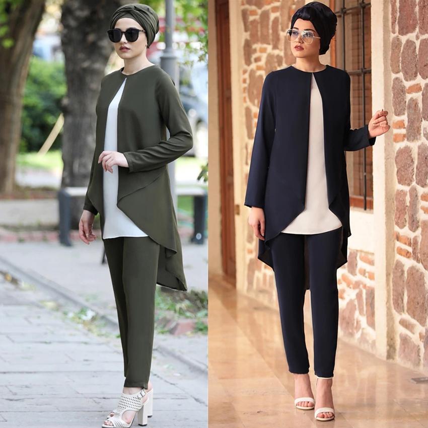 Two Piece Sets Tops and Pants Women Turkey Muslim Sets Irregular Patchwork Ramadan Abaya Dresses Kaftan Islamic Clothing Eid Set