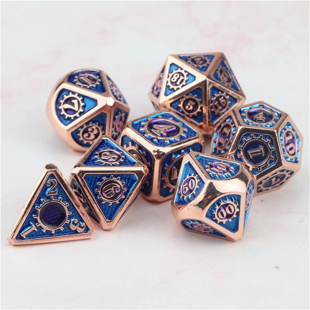 Металлические аксессуары для ролевых игр d & d gear, механический подземельник и дракон, многогранные розовые синие кости с сумкой D20 D12 D10 D8 D6 D4