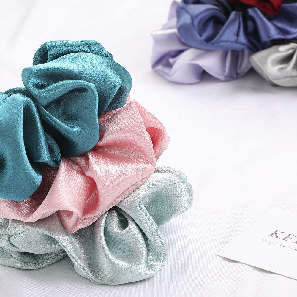 2PCS Satin Silk Bright Solid Color Scrunchies Elastic Hair BandsTies  Set Women Girls Ponytail Holder Hair Rope Hair Accessories