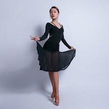 Latin Dance Dress Women Long Sleeve Tango Cha Cha Salsa Performance Dresses Ladies Ballroom Samba Rumba Practice Wear DC3037
