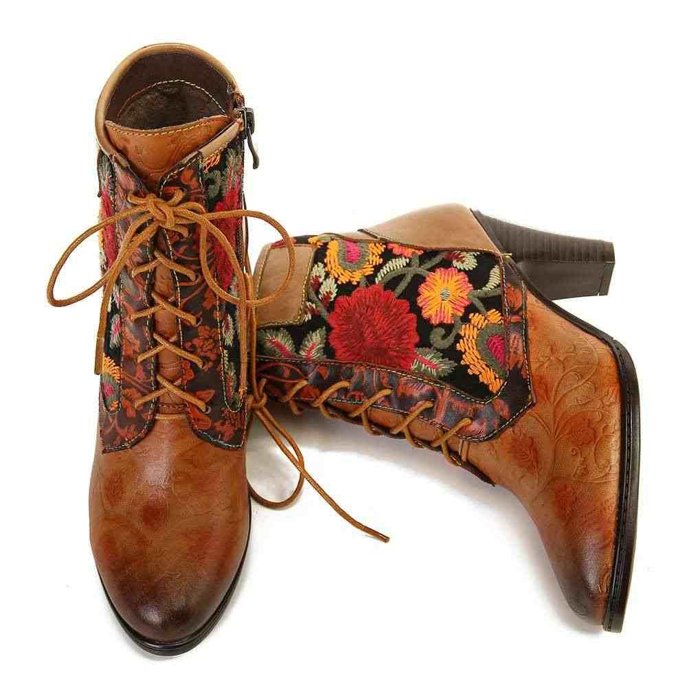 SOCOFY Retro รองเท้าผู้หญิงหนังเย็บปักถักร้อย Lace Up รองเท้าส้นสูงรองเท้าผู้หญิงรองเท้า 2019
