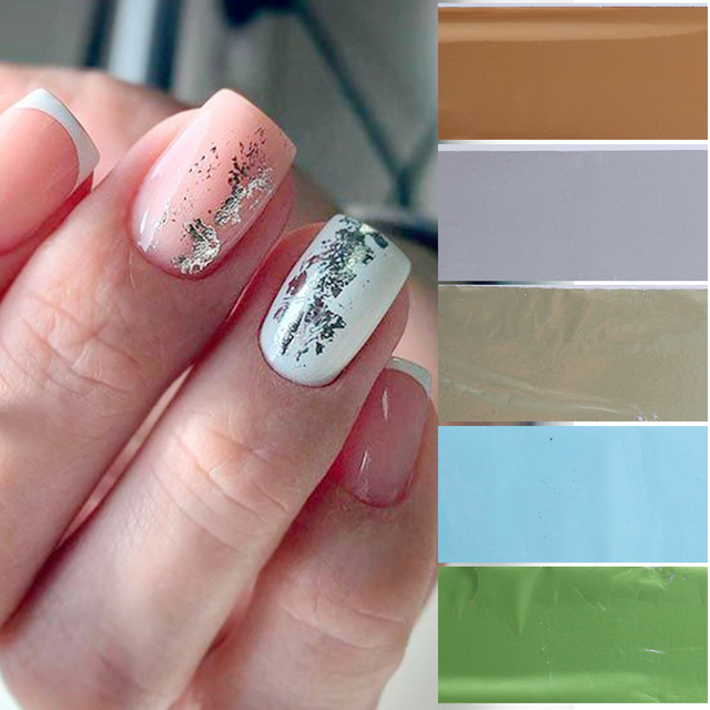 12pcs Nail Foil Polish Sticker Set Matter Silver Gold Champagne Adhesive Transfer Decals Glitter Nail Wraps Starry Paper CH1912
