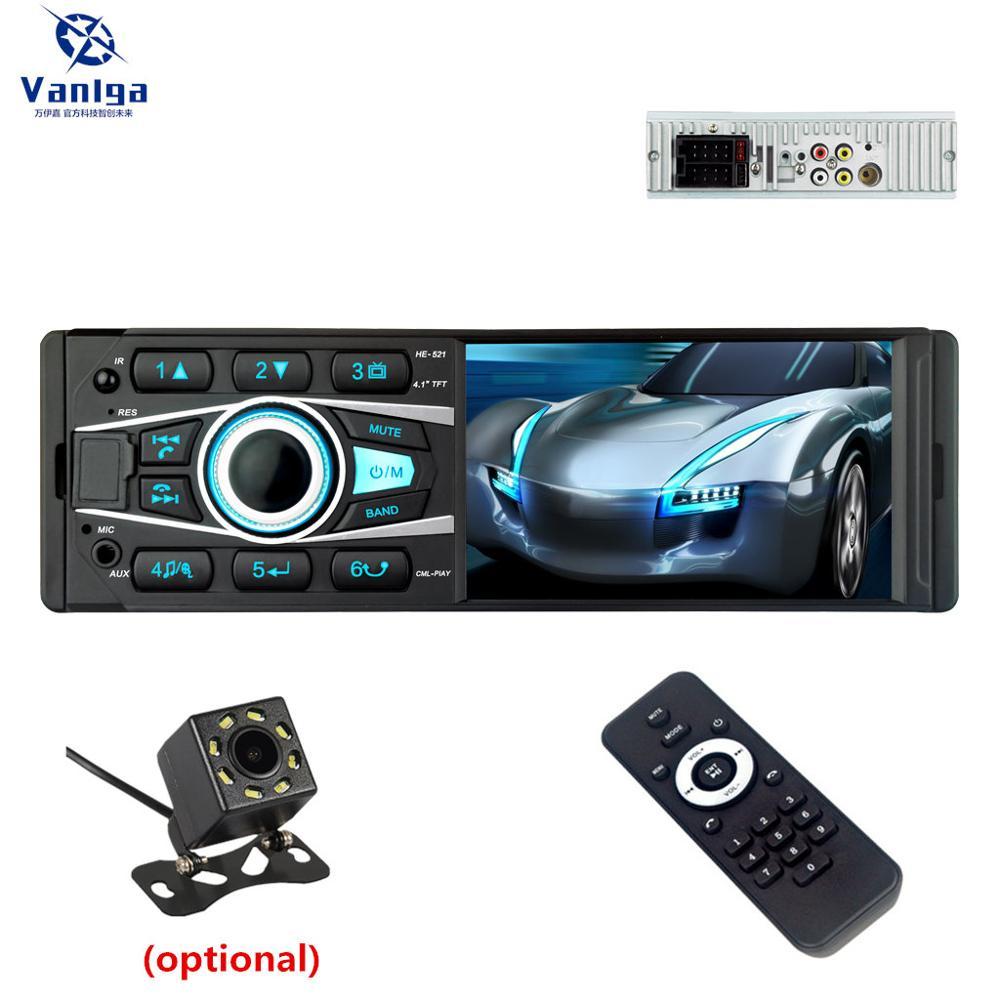 HE521 Autoradio 1DIN Bluetooth lecteur vidéo de voiture stéréo 4.1 pouces écran tactile USB AUX entrée voiture FM/AM/RDS récepteur Radio unité de tête