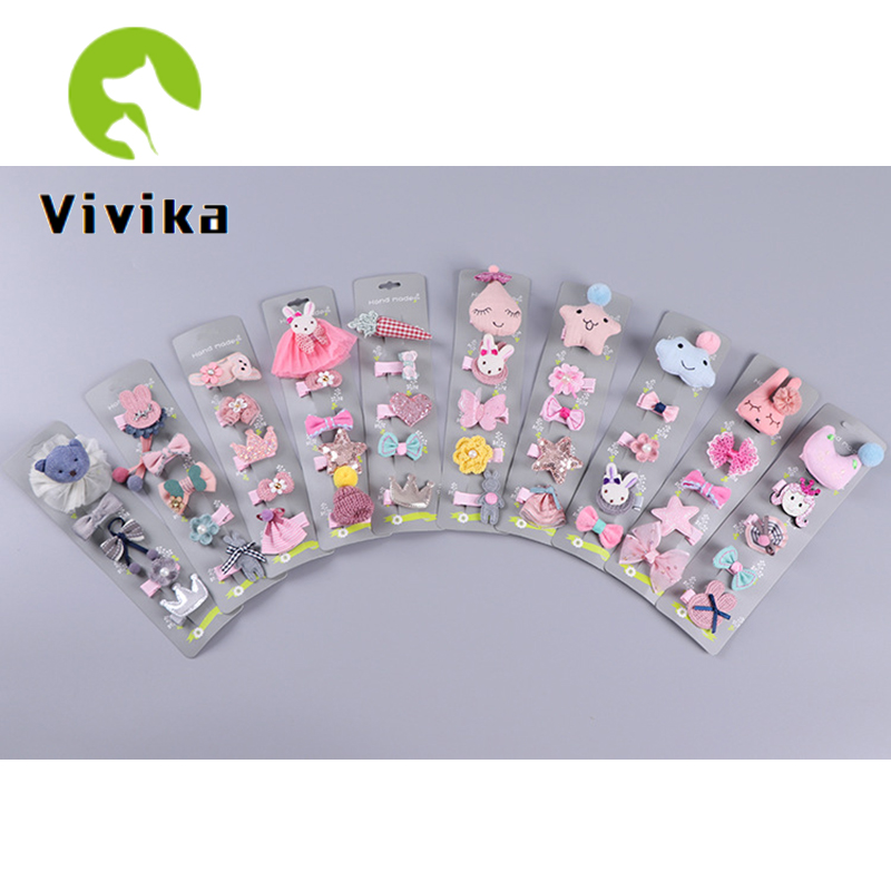 5PCS Child Hair Clip Headdress Korean Cute Princess Lady Cute Clip Baby Princess Girl Hair Clip Set