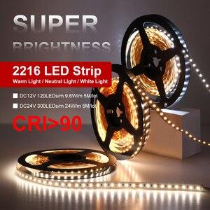 Image 2 - High End Led Strip Smd 2216 Cri 90 12V 120Leds/M 24V 300Leds/M 3000K 4000K 6000K Hoge Helderheid Flexibele Led Light Tape 5 M/partij