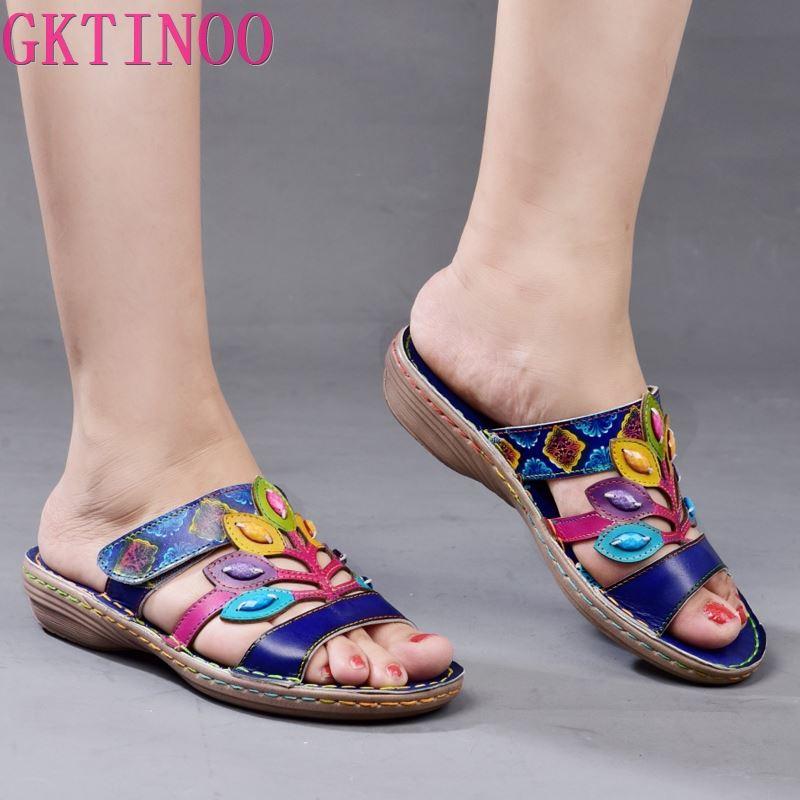 Original 2020 Summer New Women Slippers Ethnic Soft Female Genuine Leather Slides Footwear Bohemian Comfortable Sandals Ladies