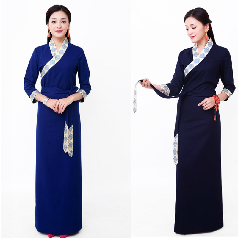 Tibetan Dress Ethnic Style Tibet Pamuklu Elbise Ropa Oriental Mujer Long Sleeve Cotton Robe Tibetan Dresses Long