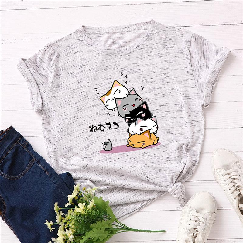 Women T Shirt Plus Size Cotton Women Shirt Lovely Cat Cartoon Vintage Female T-shirt Short Sleeve Harajuku Tops Tess Feminina