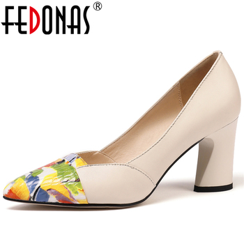 FEDONAS Pointed Toe Thick Heel Women Cow Leather Mixed Colors Pumps Elegant Concise Wedding Casual Spring Shallow Shoes Woman