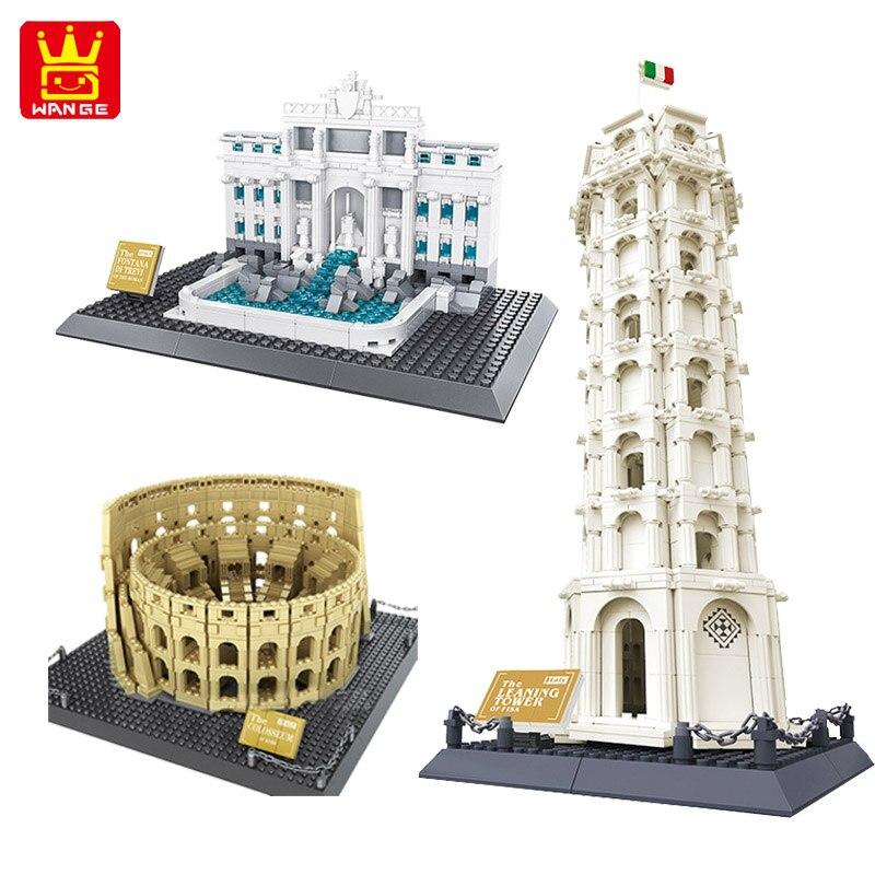 WANGE всемирно известная архитектурная фонтана Ди Треви колозеум наклонная башня Пизы для Италии строительные блоки конструктор игрушка